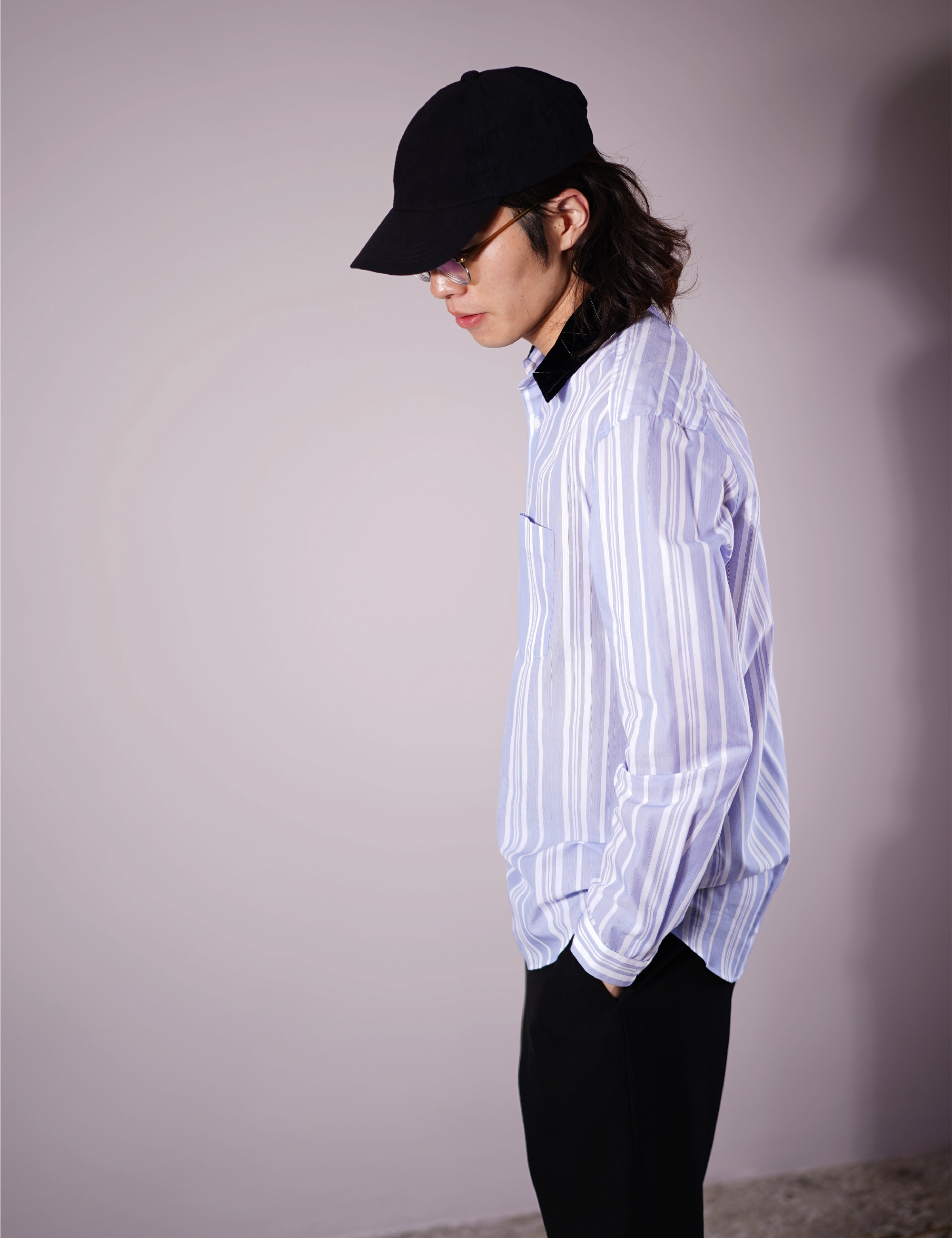 VELVET COLLAR SHIRT (BLUE)