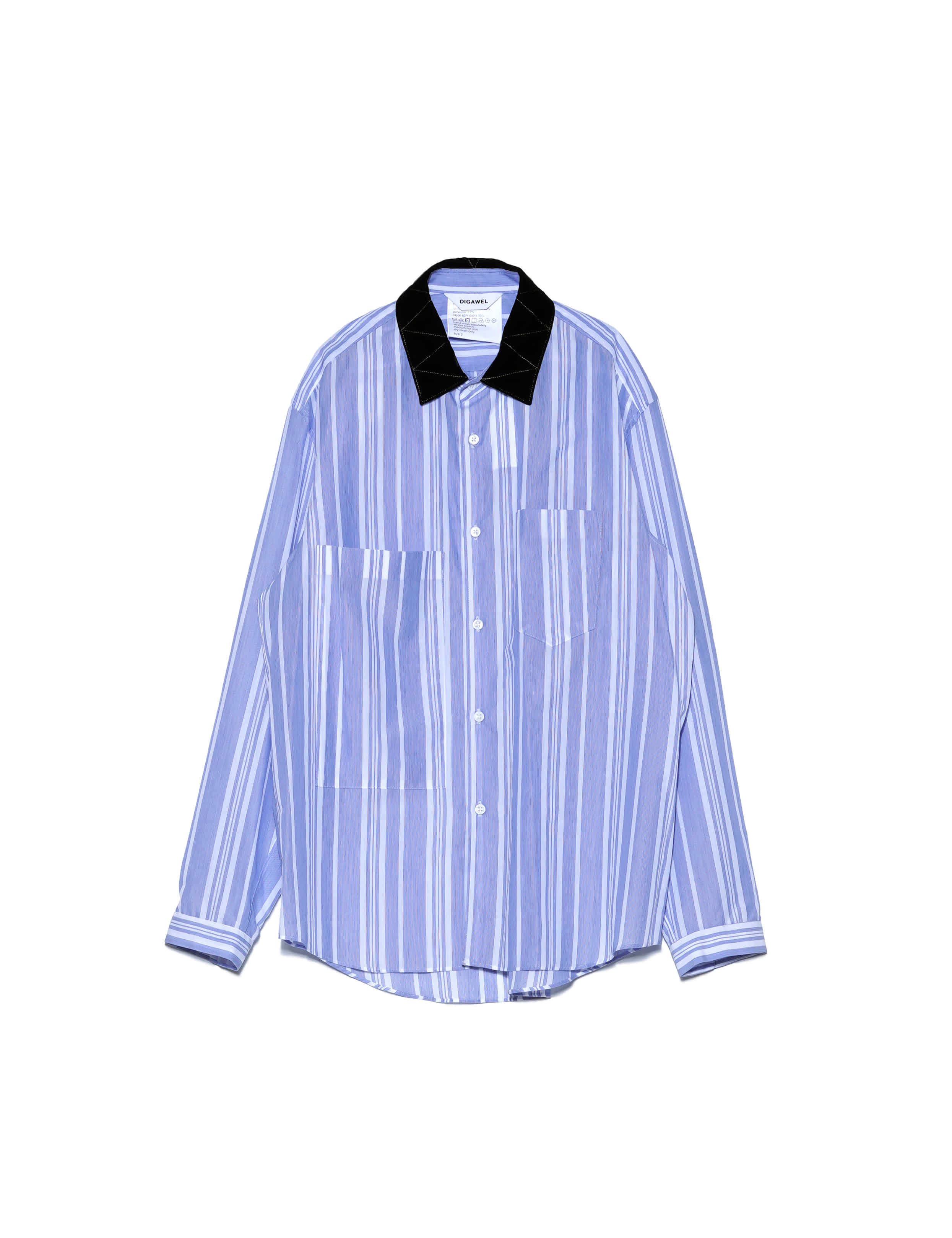 [DIGAWEL] VELVET COLLAR SHIRT (BLUE)