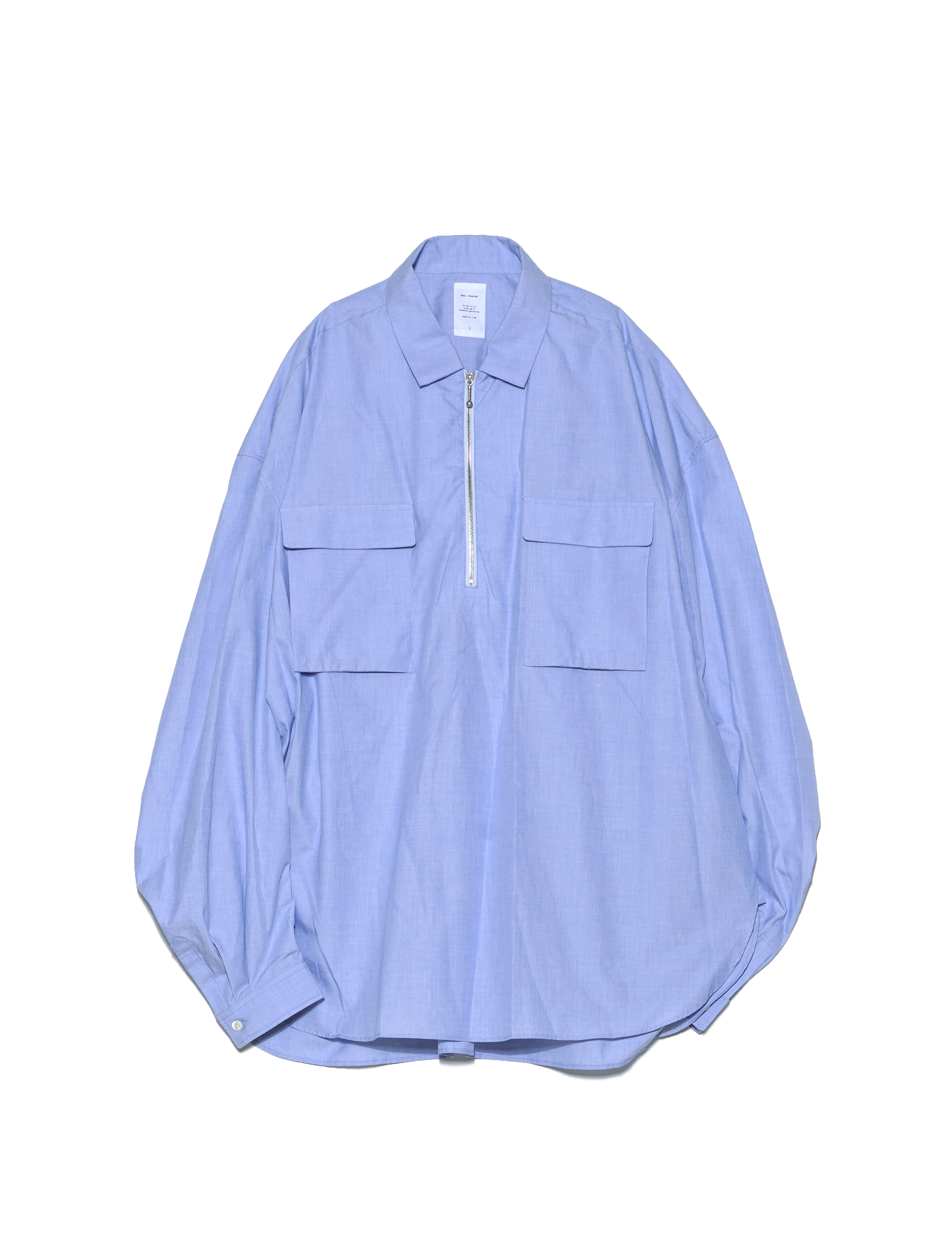 [Name.] COTTON CHAMBRAY ZIP SHIRT (SAX)
