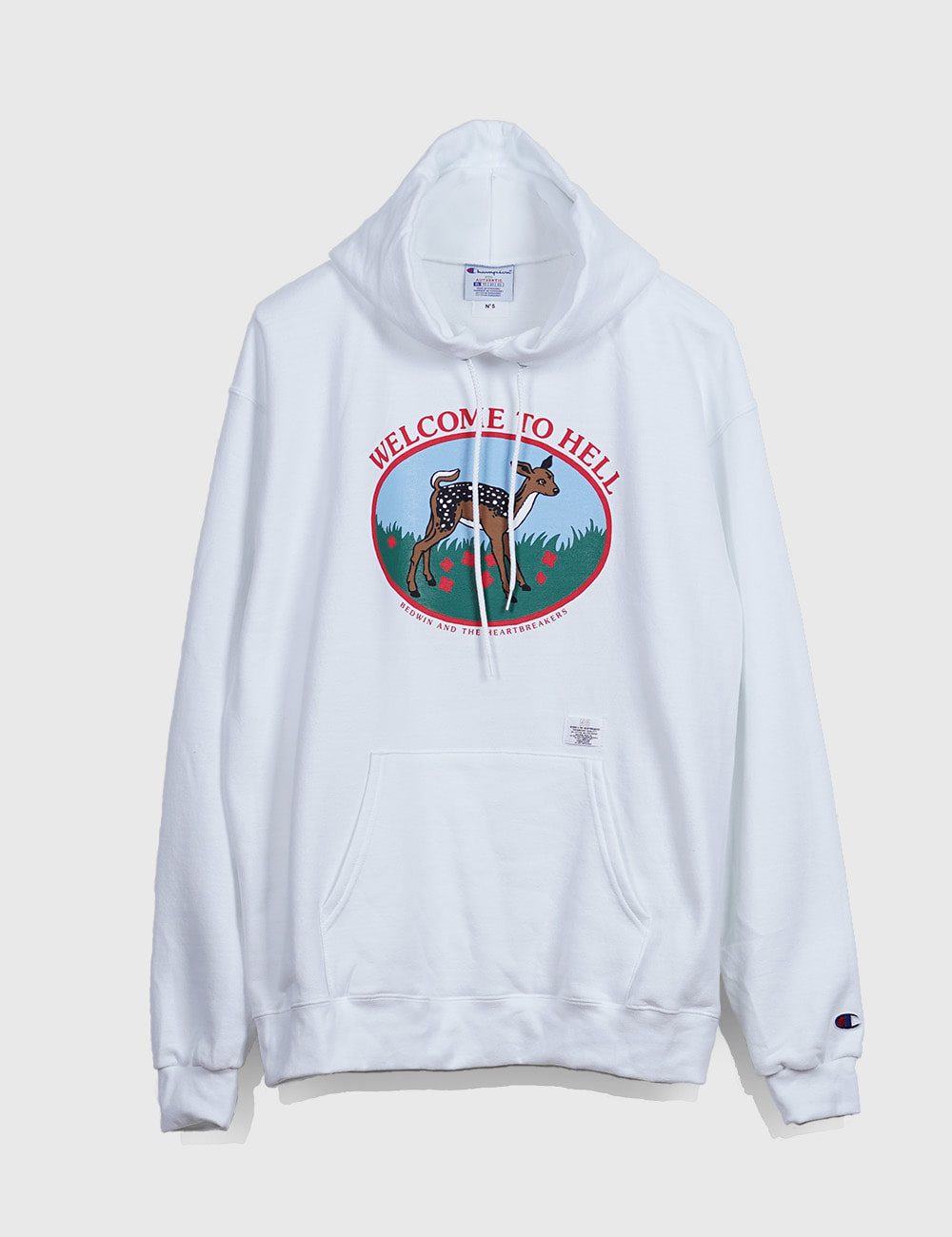 "L/S HOODED SWEAT ""DAVID"" (WHITE)"