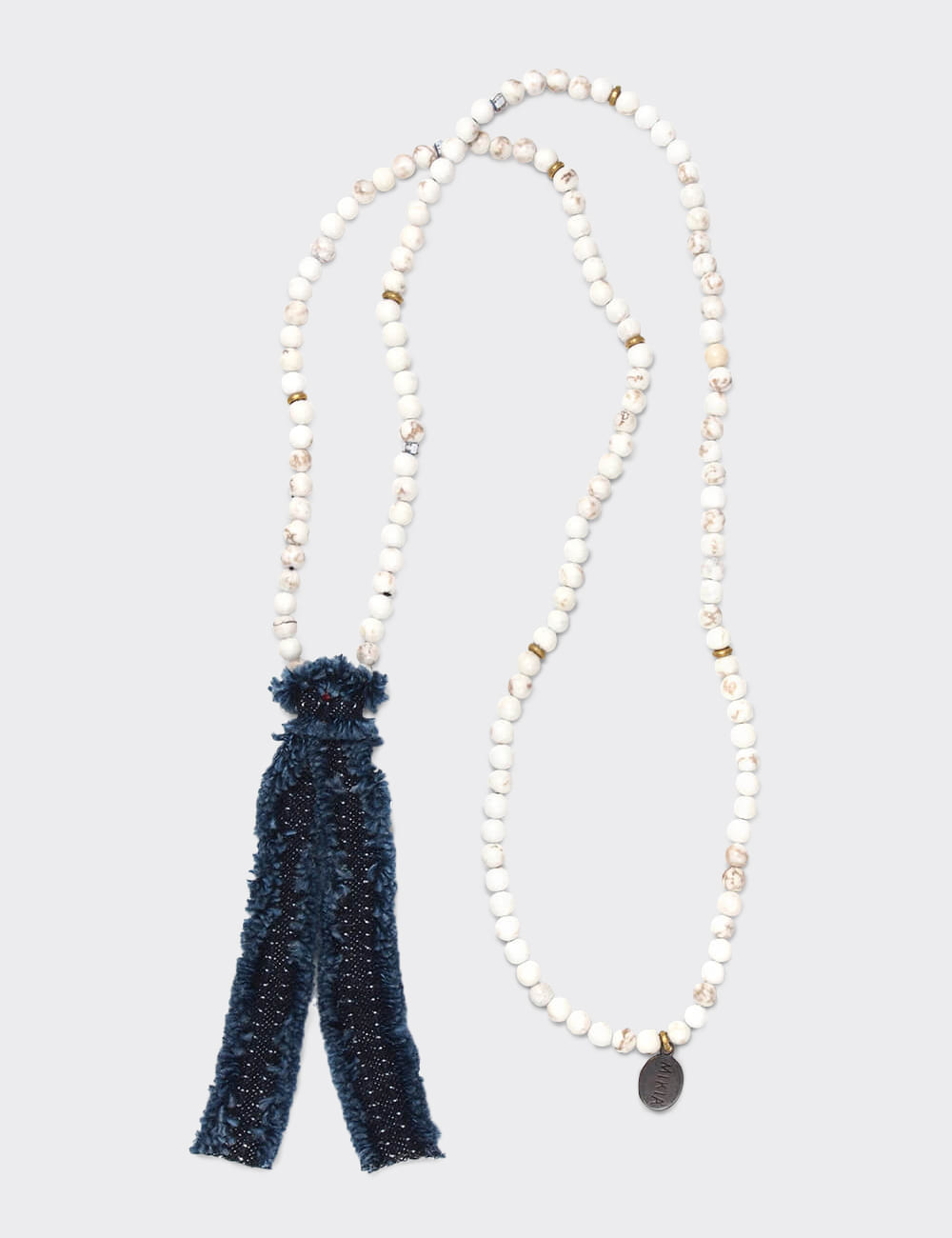 Necklace 4mm Beads/Denim(MAGNESITE)