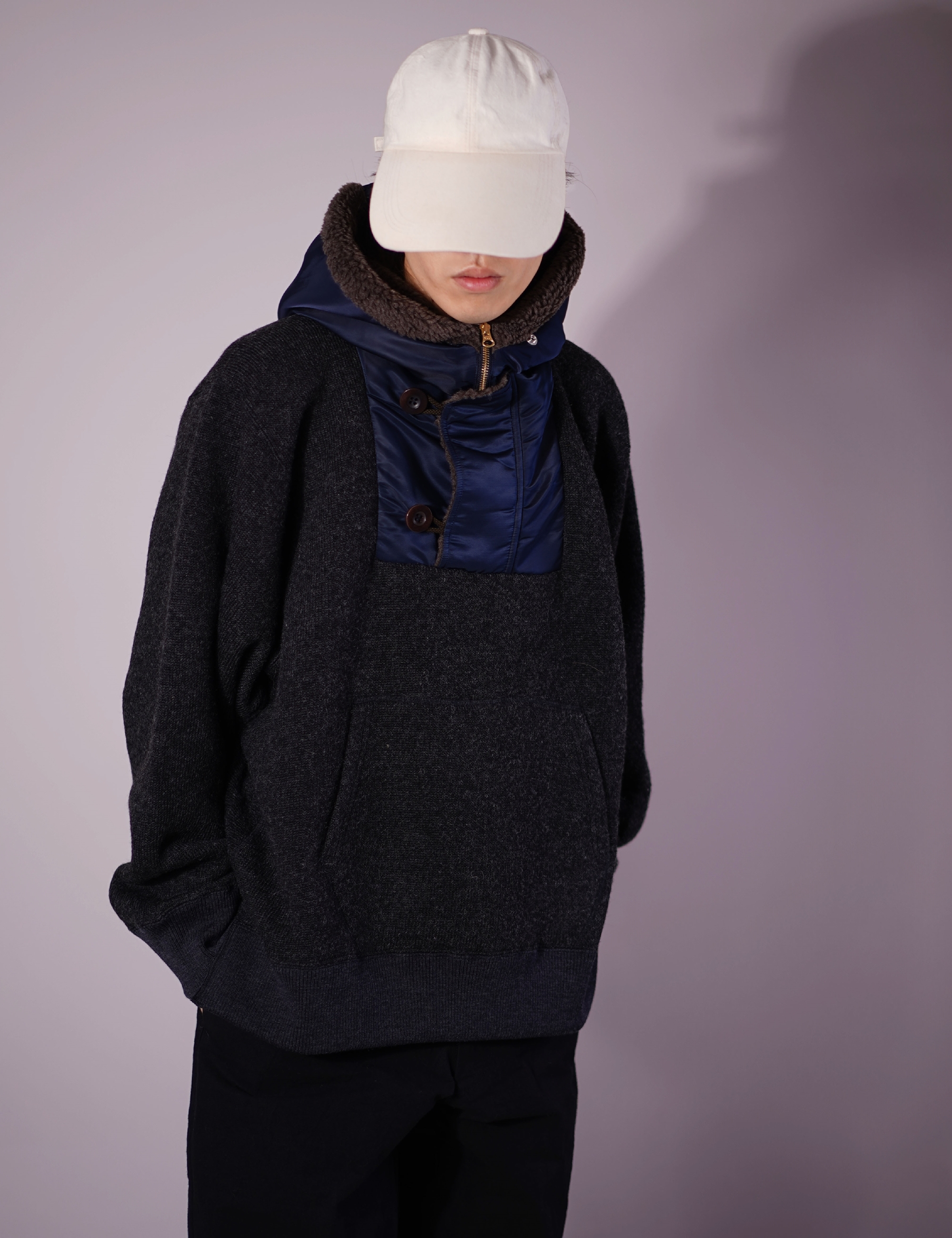 WOOL JERSEY PARKA PULLOVER (CHARCOAL)