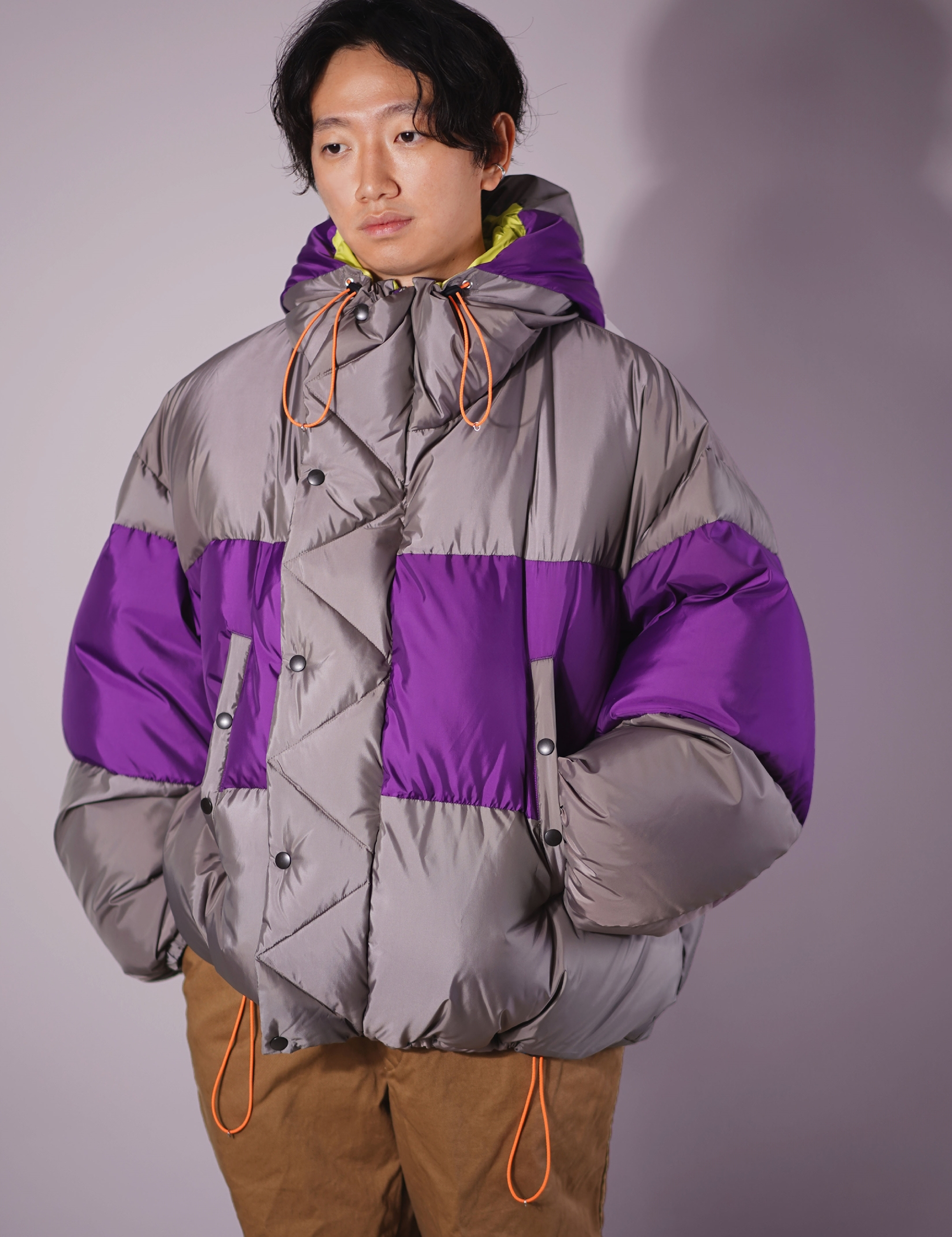 OVER SIZED DOWN PARKA  (PURPLE/GRAY)