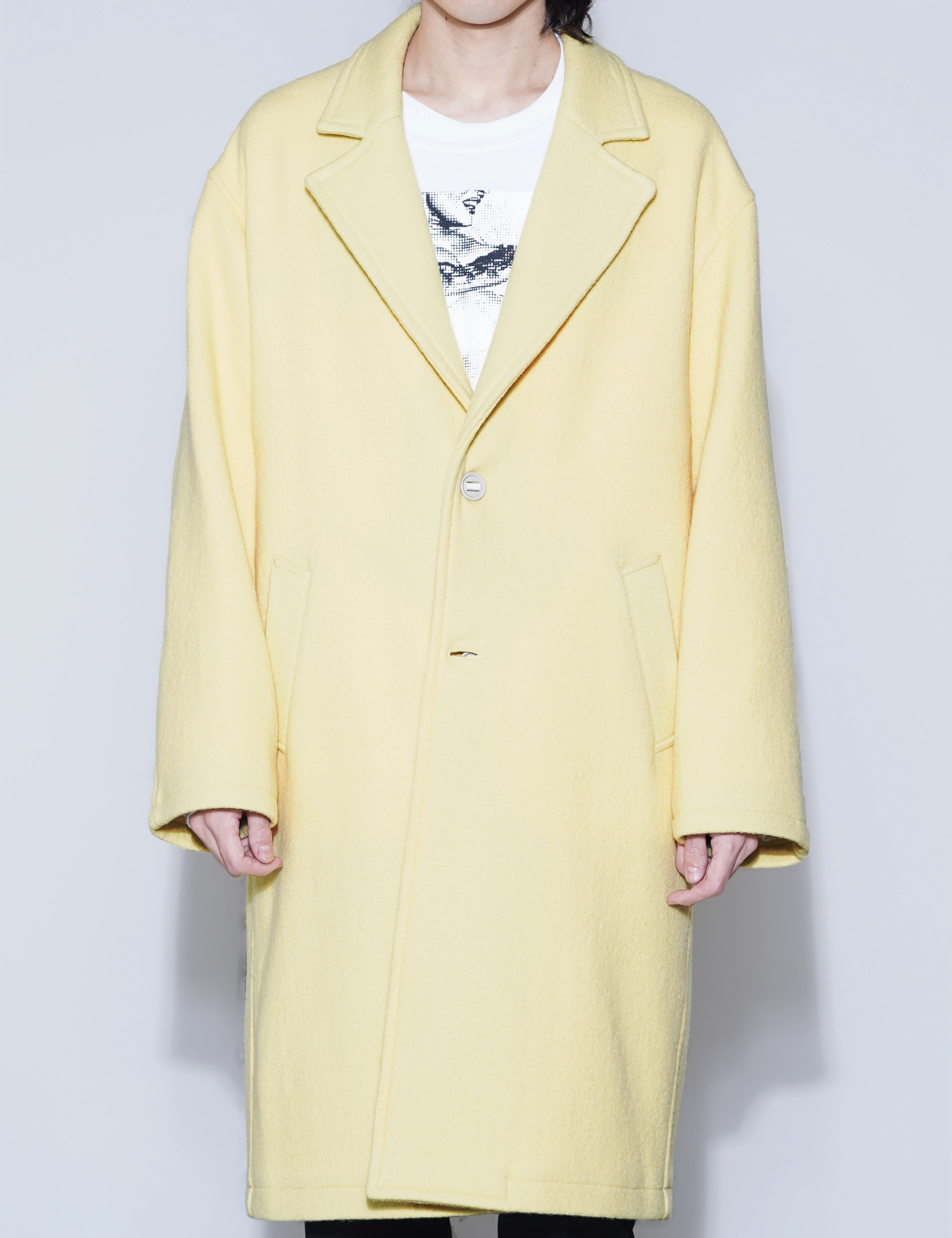 WASHED MELTON CHESTERFIELD COAT (YELLOW)