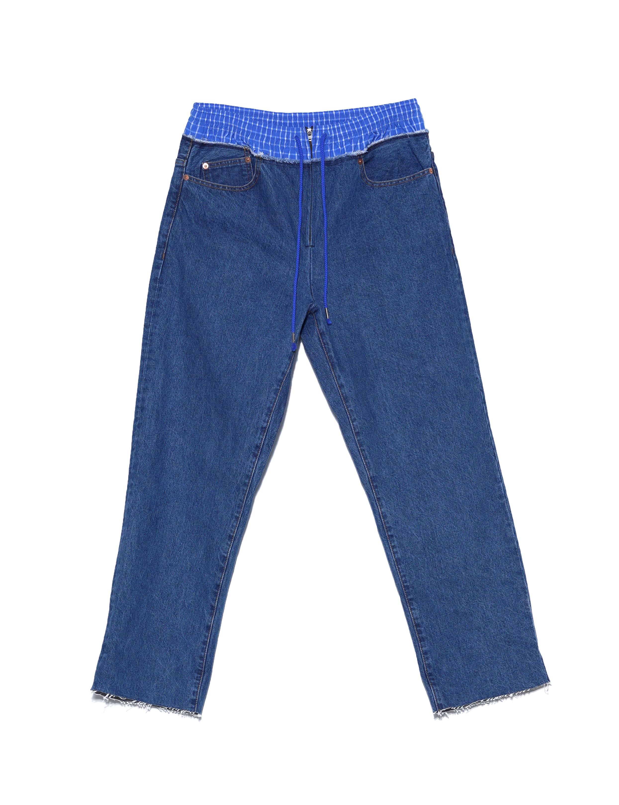 FAKE LAYERED WAIST DENIM PANTS (INDIGO)