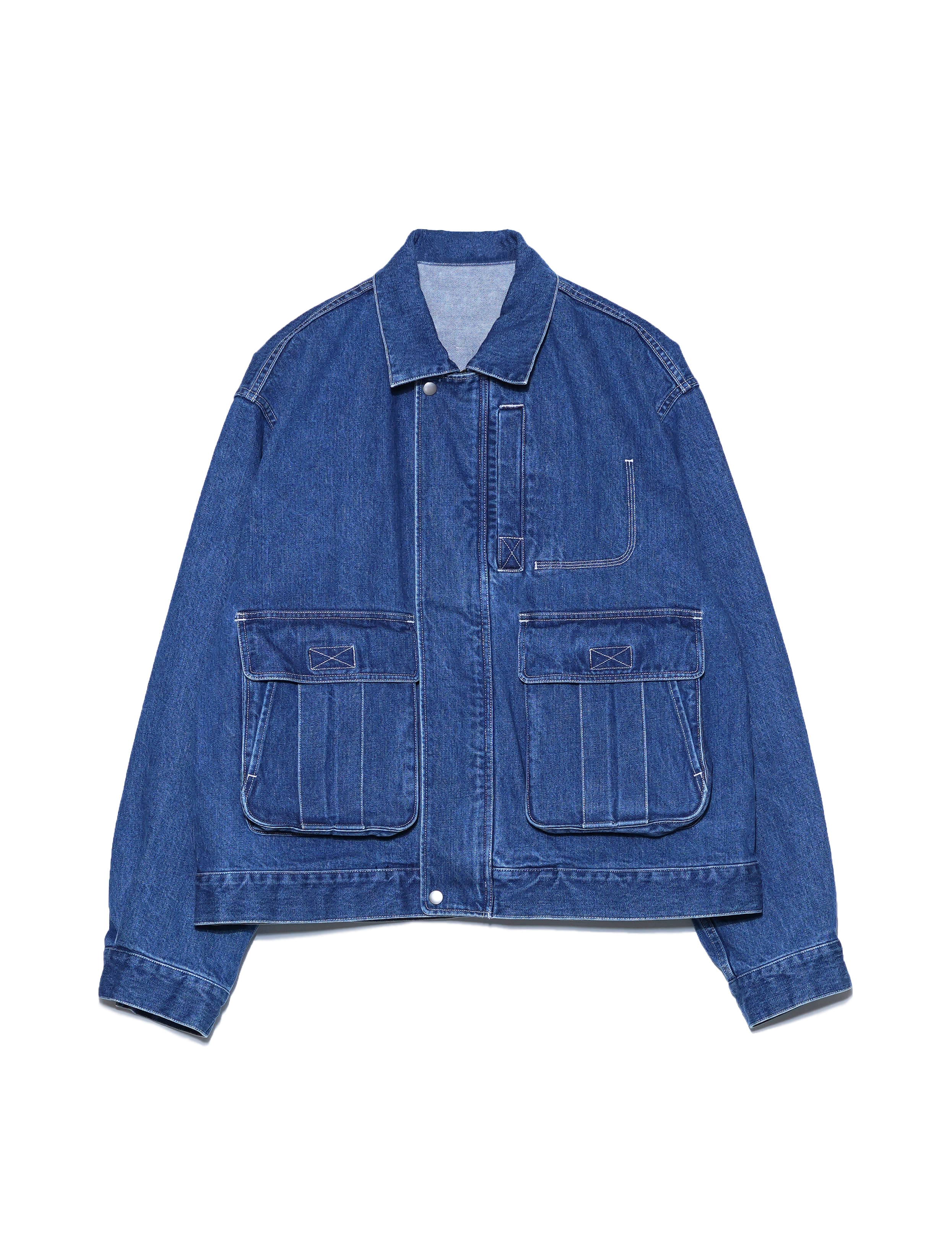 WASHED DENIM ZIP BLOUSON (INDIGO)