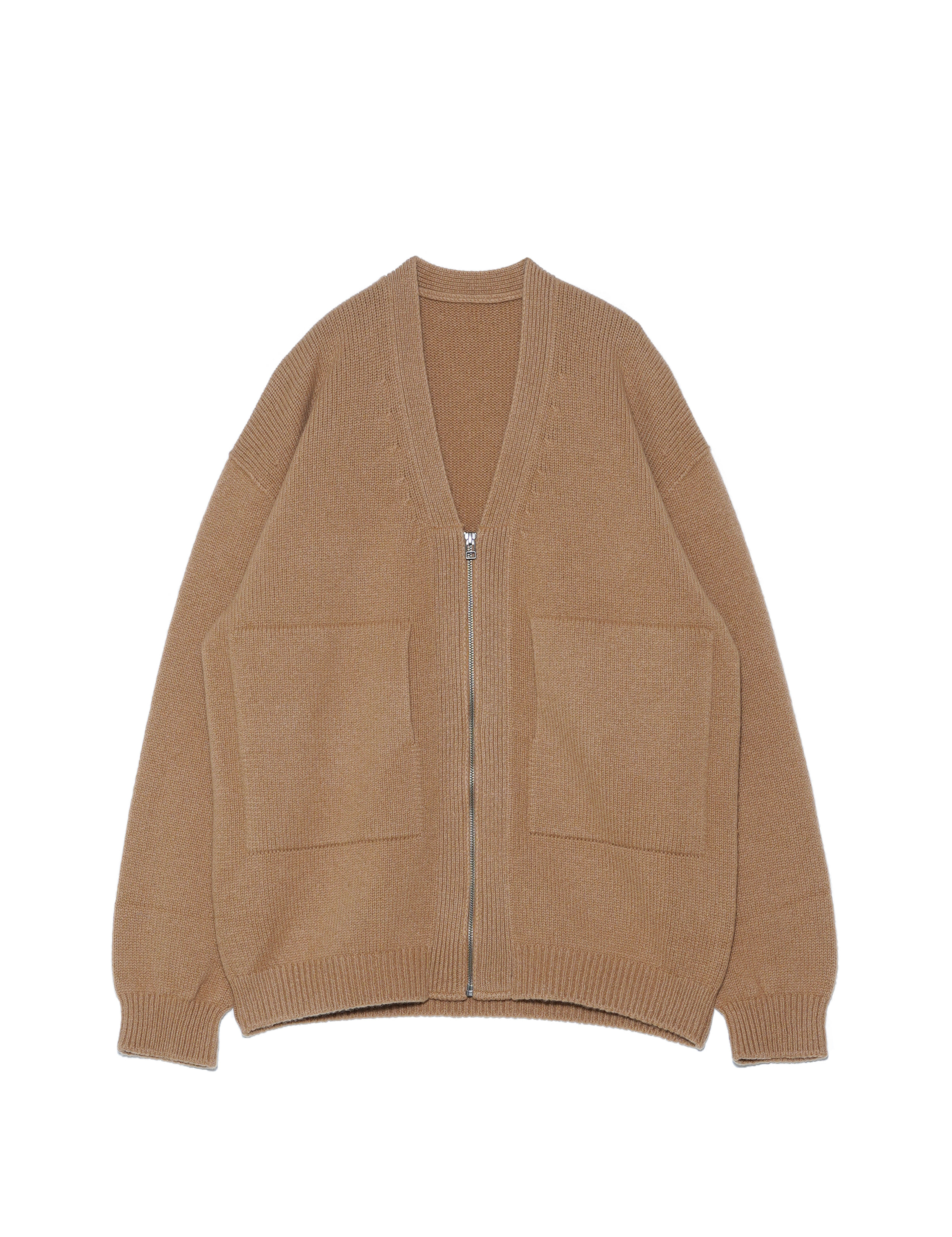 WHOLEGARMENT ZIP CARDIGAN (CAMEL)