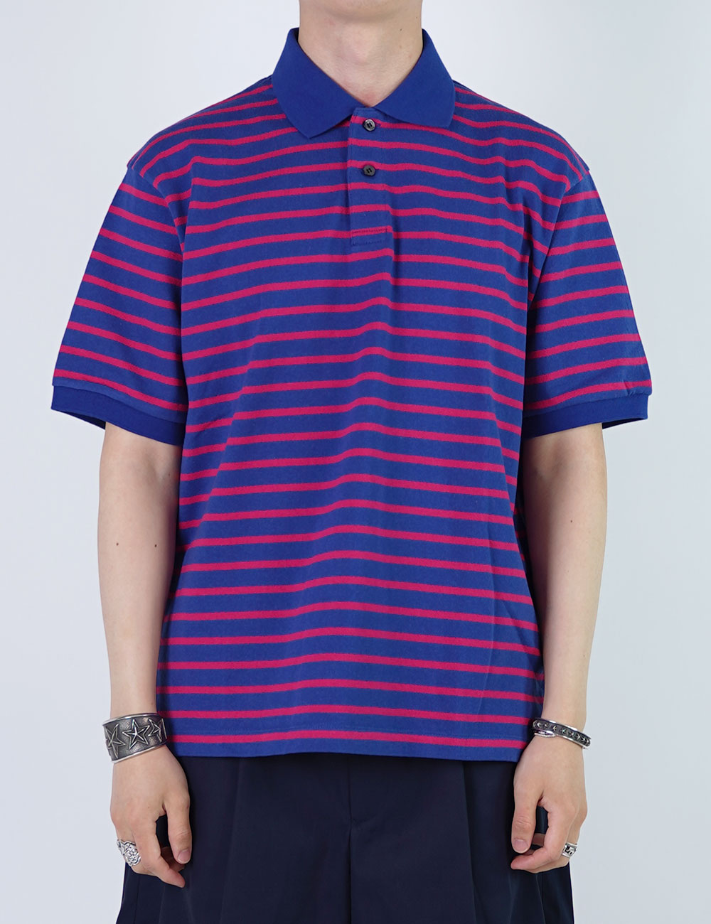 URU : COTTON BORDER POLO SHIRTS (BLUE/RED)