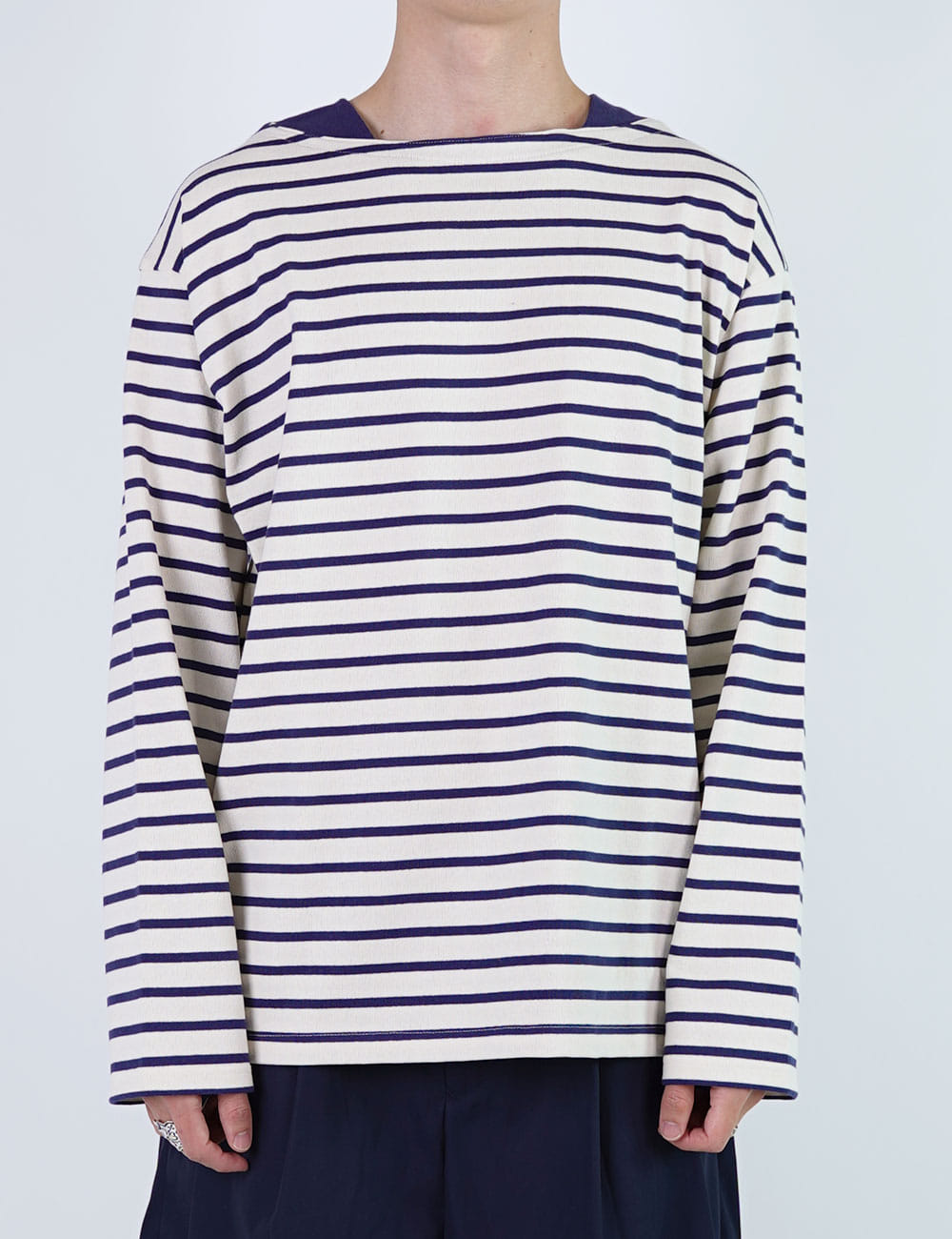 URU : COTTON BORDER BOAT NECK TEE (WHITE/NAVY)