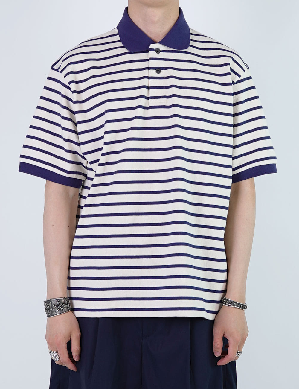 URU : COTTON BORDER POLO SHIRTS (WHITE/NAVY)