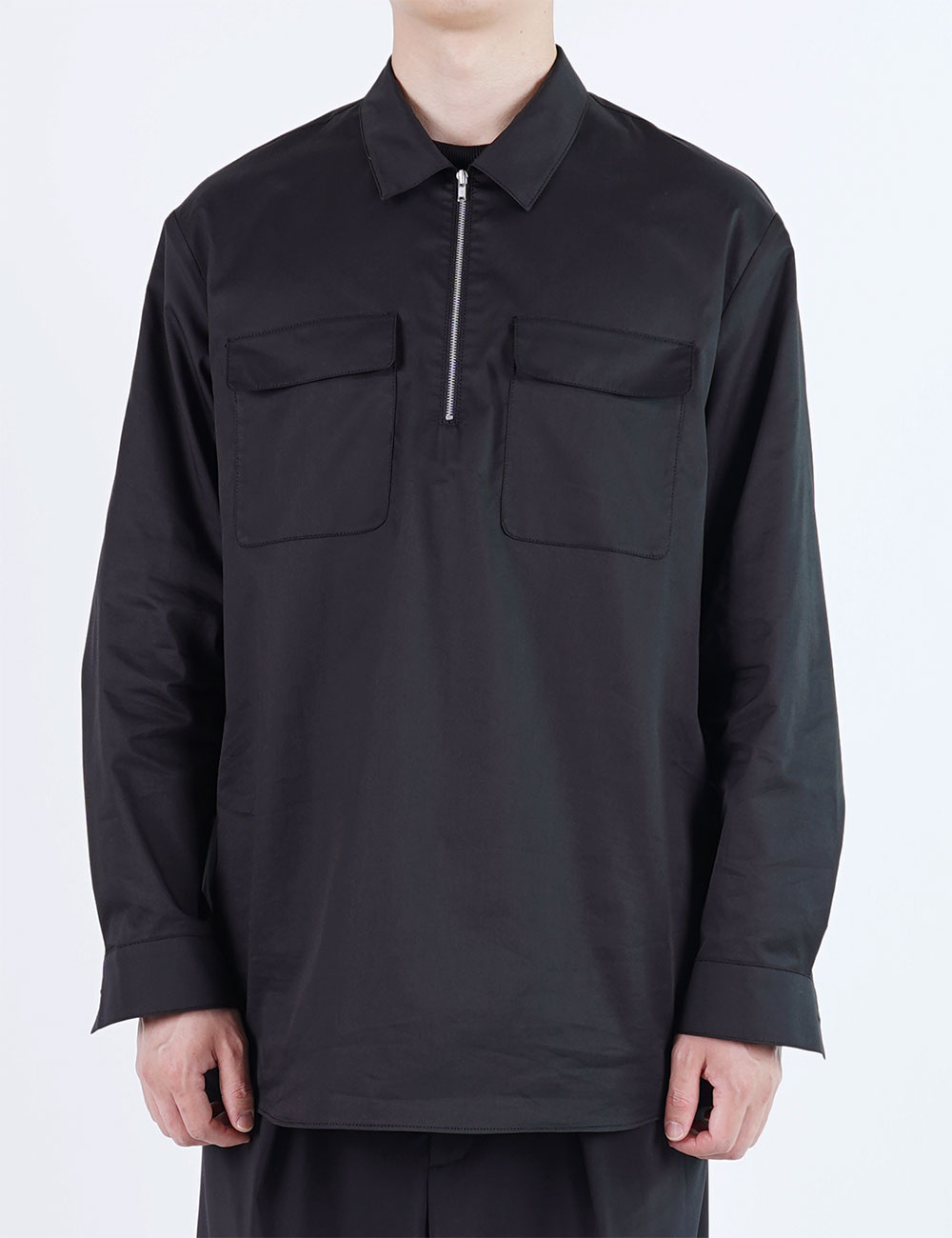 momPROUDyou : 2 POCKET ZIP SHIRT (BLACK)