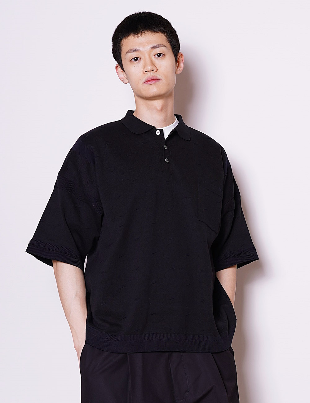 YASHIKI : KUMPU KNIT POLO (NAVY)